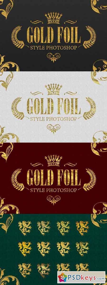 36 Gold Foil Style Photoshop 898562