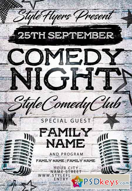 comedy night psd flyer template   facebook cover  u00bb free