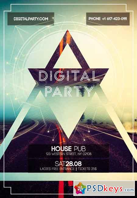 digital party flyer psd template   facebook cover  u00bb free