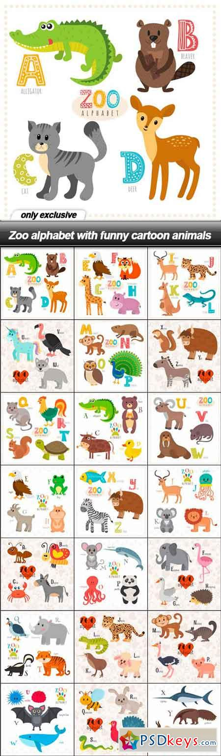 Zoo alphabet with funny cartoon animals - 21 EPS