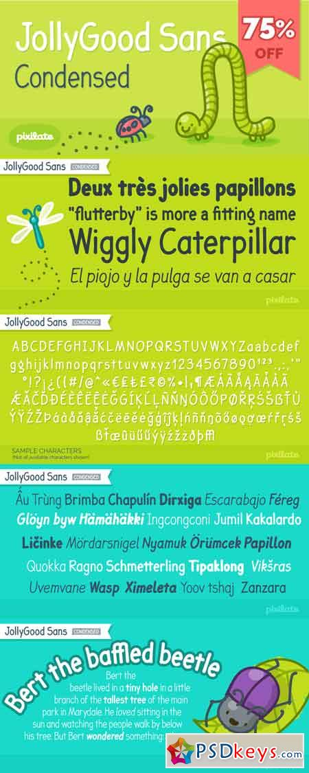 JollyGood Sans Condensed Font Family - 9 Fonts