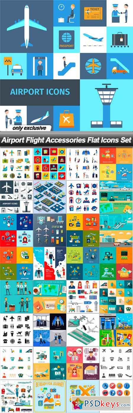 Airport Flight Accessories Flat Icons Set - 33 EPS