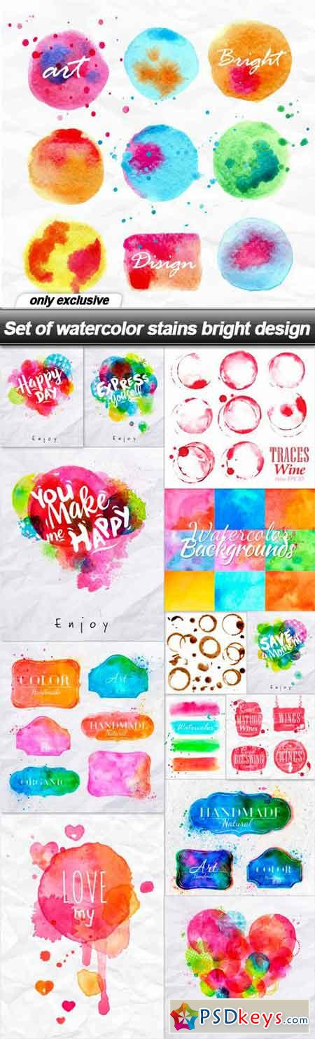 Set of watercolor stains bright design - 14 EPS