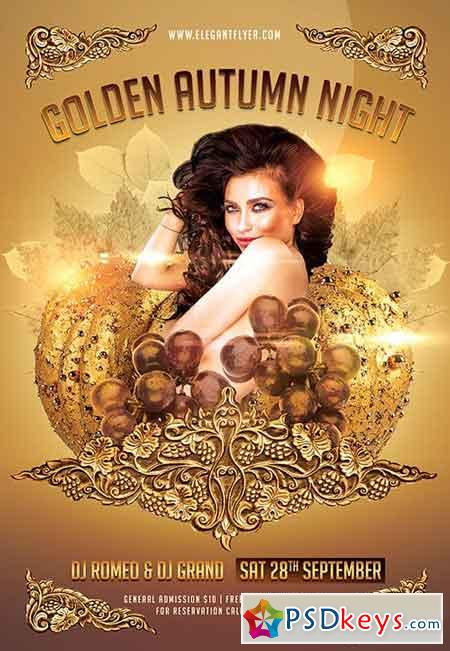 Golden Autumn Night Flyer PSD Template + Facebook Cover