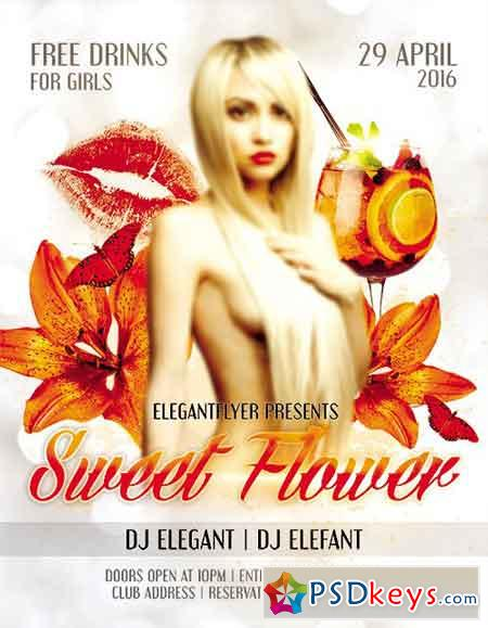 Sweet Flower Flyer PSD Template + Facebook Cover