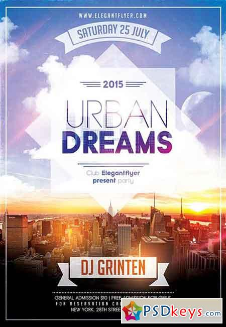 Urban Dreams Flyer PSD Template + Facebook Cover