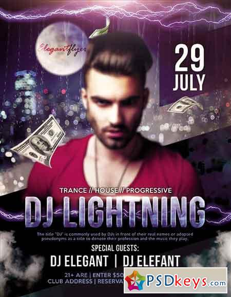 Guest DJ Lightning Flyer PSD Template + Facebook Cover