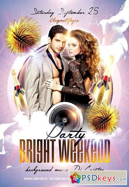 Bright Weekend party Flyer PSD Template + Facebook Cover