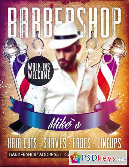 Barbershop Flyer PSD Template + Facebook Cover