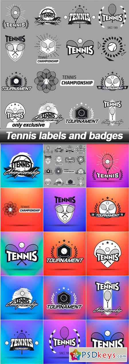 Tennis labels and badges - 15 EPS