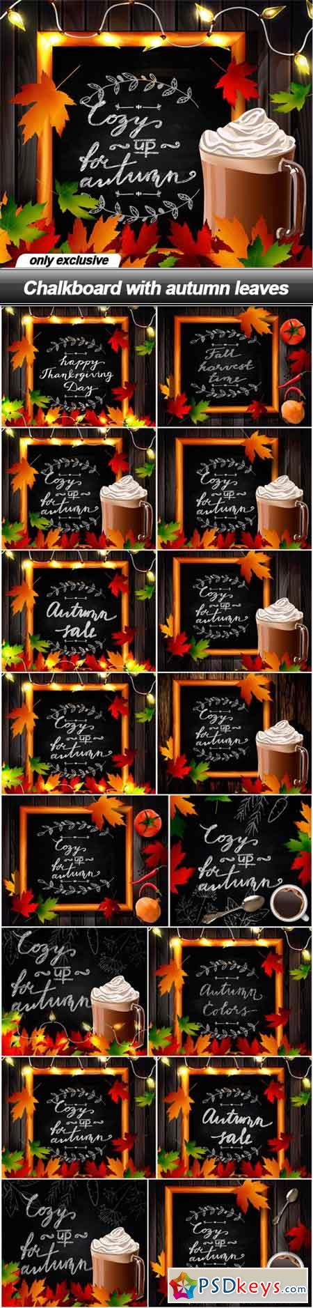 Chalkboard with autumn leaves - 16 EPS