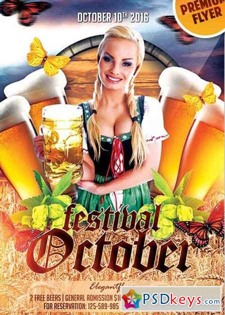 Oktober Festival Flyer PSD V12 Template + Facebook Cover