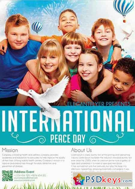 International Peace Day V2 Flyer PSD Template + Facebook Cover