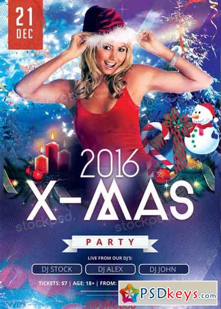X-Mas Party V8 PSD Flyer