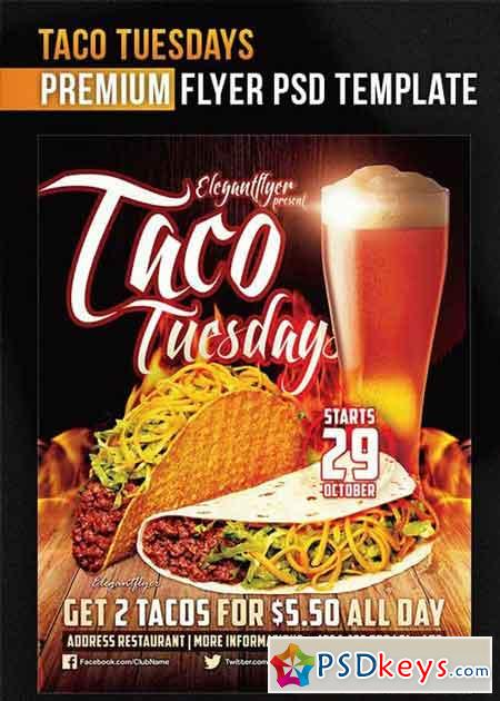 Taco Tuesdays V7 Flyer PSD Template + Facebook Cover