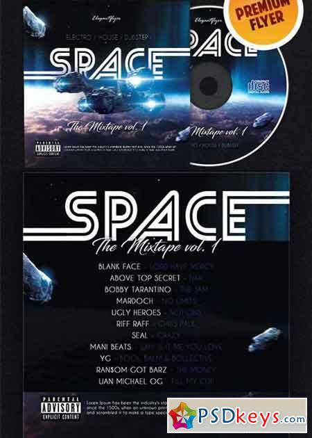 Space Galactic Mixtape V4 CD Cover PSD Template
