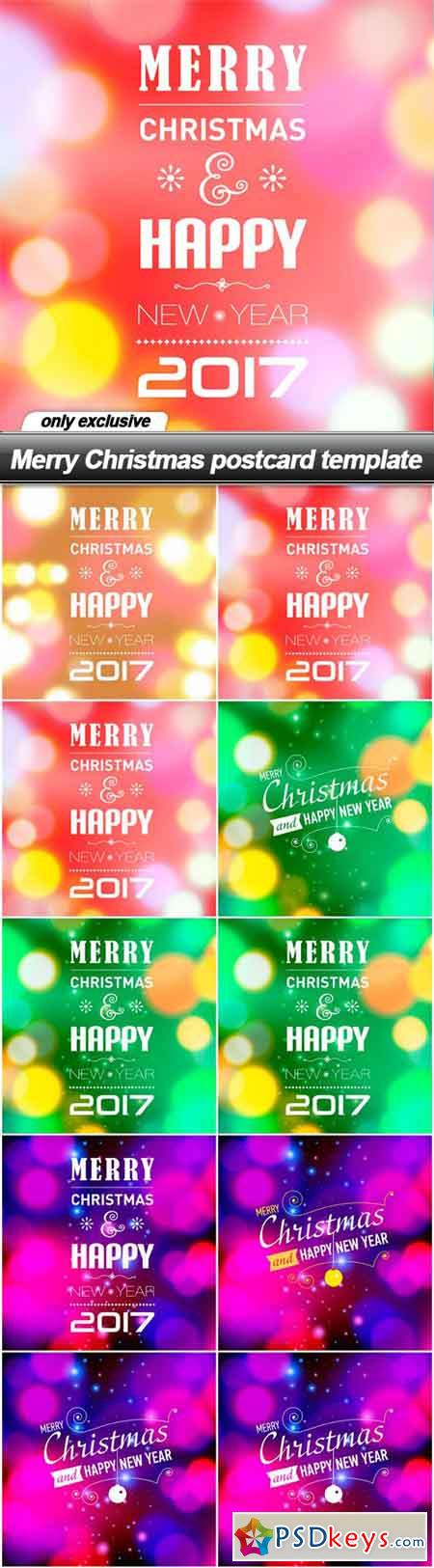 Merry Christmas postcard template - 10 EPS