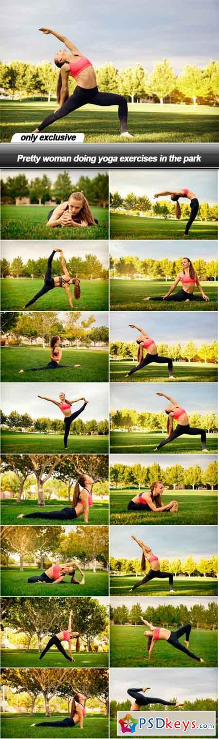Pretty woman doing yoga exercises in the park - 16 UHQ JPEG