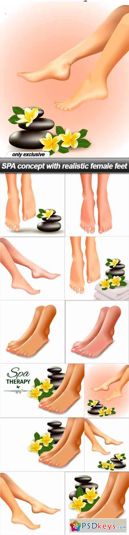 SPA concept with realistic female feet - 12 EPS