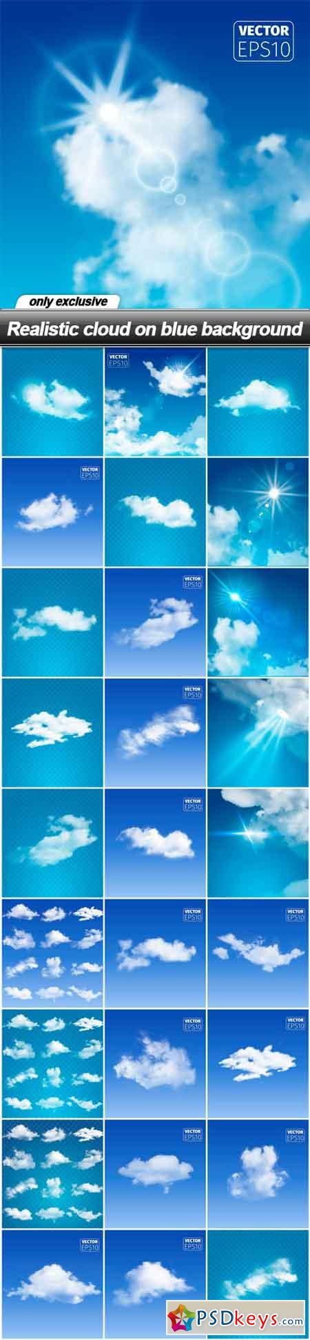 Realistic cloud on blue background - 28 EPS