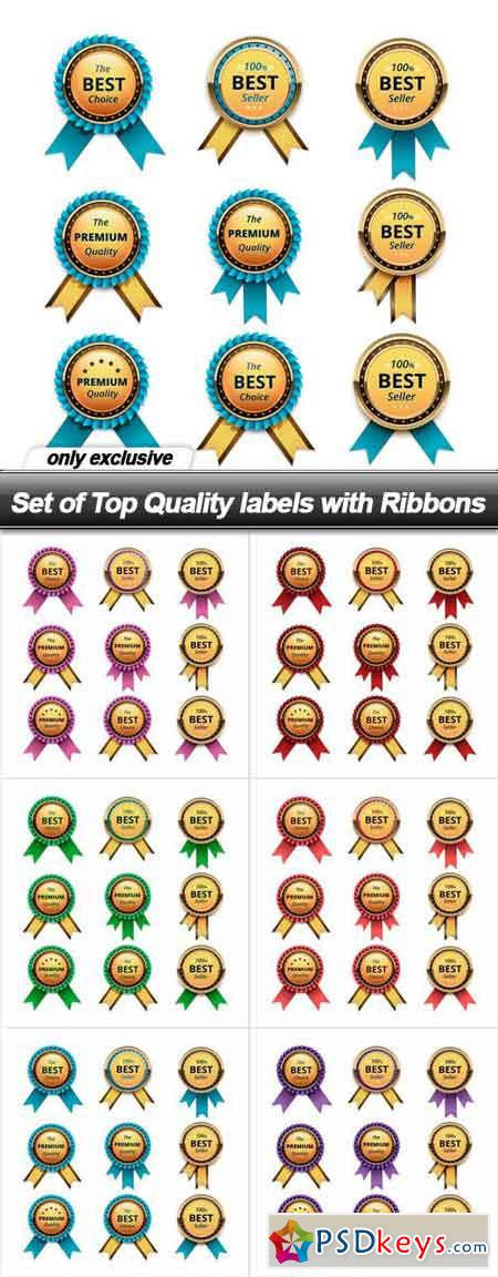Set of Top Quality labels with Ribbons - 6 EPS