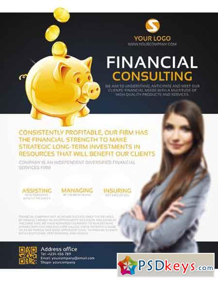 Financial Consulting Flyer PSD Template + Facebook Cover