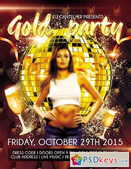 Gold Party Flyer PSD Template + Facebook Cover