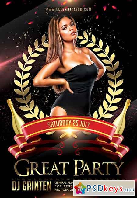 Great Party Flyer PSD Template + Facebook Cover