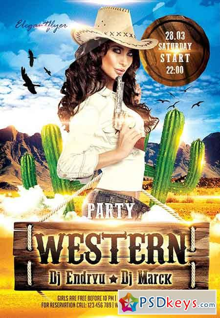 Western Party Flyer PSD Template + Facebook Cover