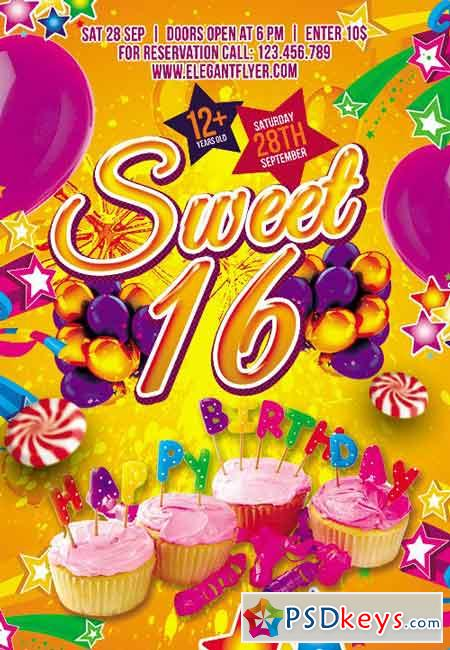 Sweet 16 Flyer PSD Template + Facebook Cover