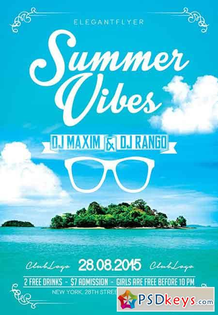 Summer Vibes Flyer PSD Template + Facebook Cover