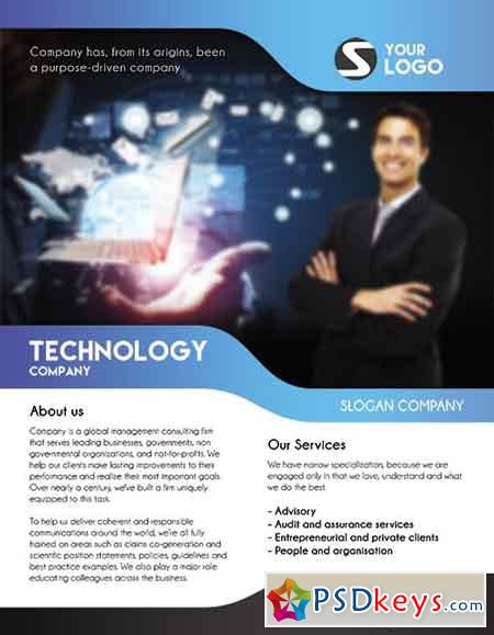 Technology Flyer PSD Template + Facebook Cover