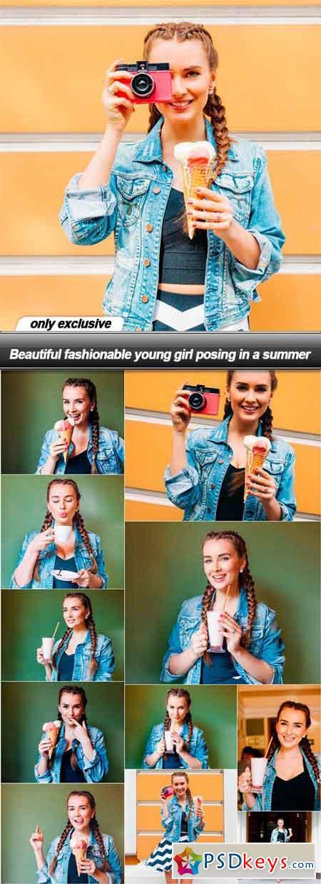 Beautiful fashionable young girl posing in a summer - 12 UHQ JPEG