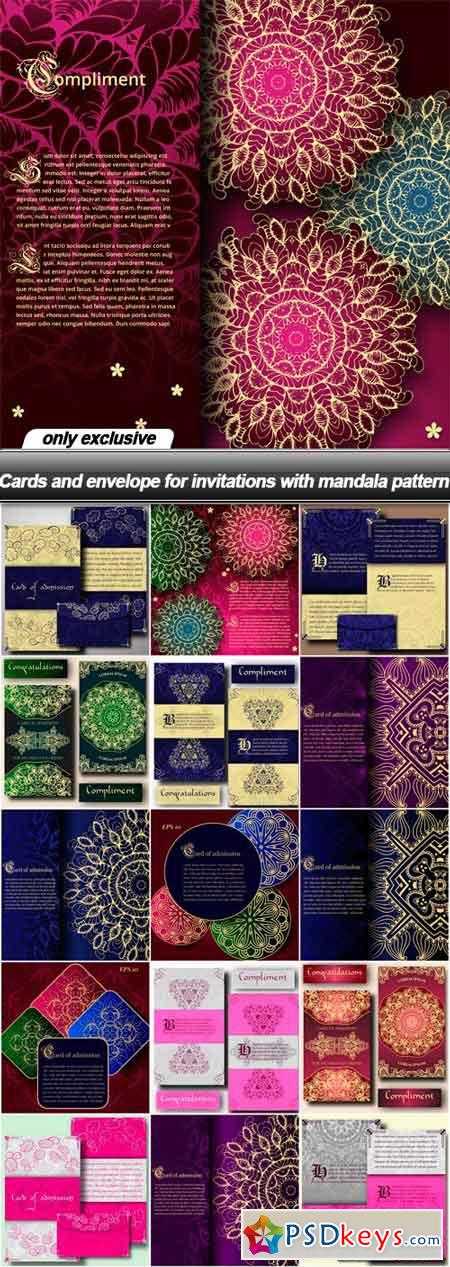Cards and envelope for invitations with mandala pattern - 16 EPS