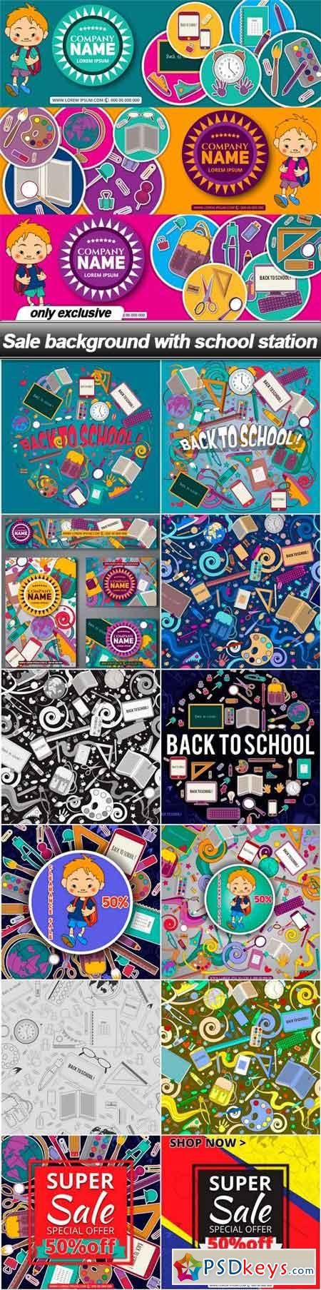 Sale background with school station - 13 EPS