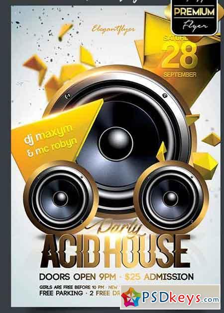 Vacid house flyer psd v5 template facebook cover free for Acid house torrent