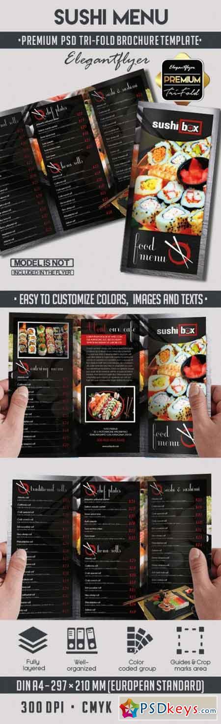 sushi menu v5 premium tri fold psd brochure template free download photoshop vector stock. Black Bedroom Furniture Sets. Home Design Ideas
