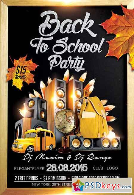 Back To School Party Flyer Psd Template Facebook Cover Free