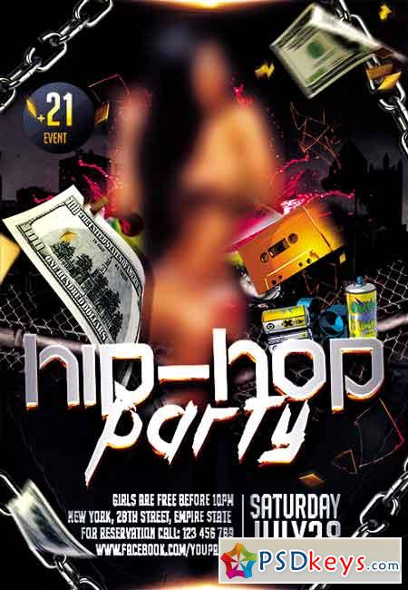 Hip hop party flyer psd template facebook cover free download photoshop vector stock image for Hip hop psd