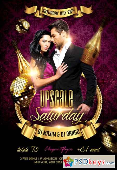 Upscale Saturday Flyer PSD Template + Facebook Cover