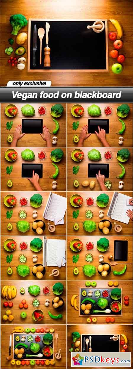 Vegan food on blackboard - 12 UHQ JPEG