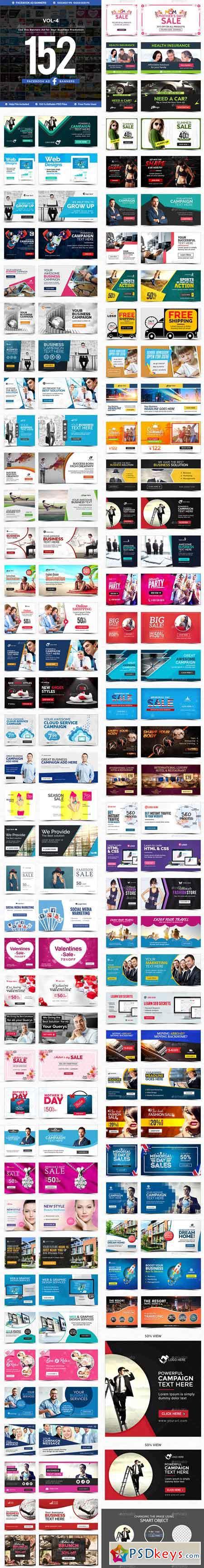 Facebook Newsfeed Ad Banners Vol-4 - 152 Banners