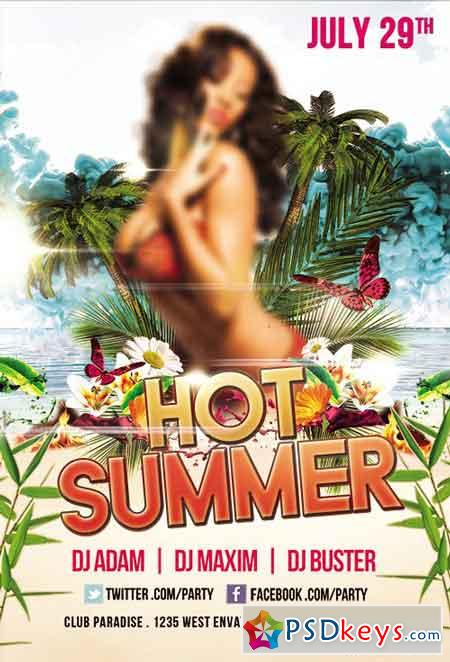Hot Summer Flyer PSD Template + Facebook Cover
