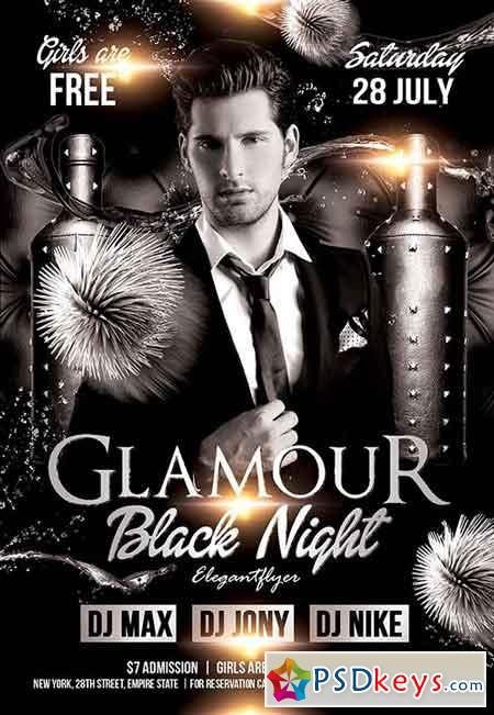 Glamour Black Night Flyer PSD Template + Facebook Cover