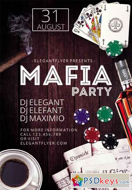 Mafia Party Flyer PSD Template + Facebook Cover