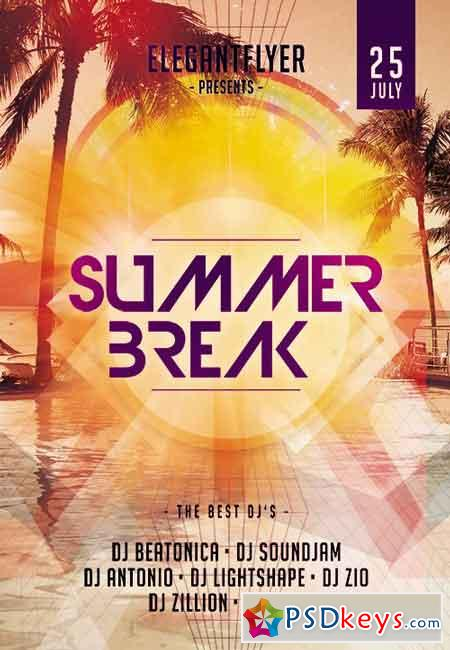 Summer Break Party Flyer PSD Template + Facebook Cover