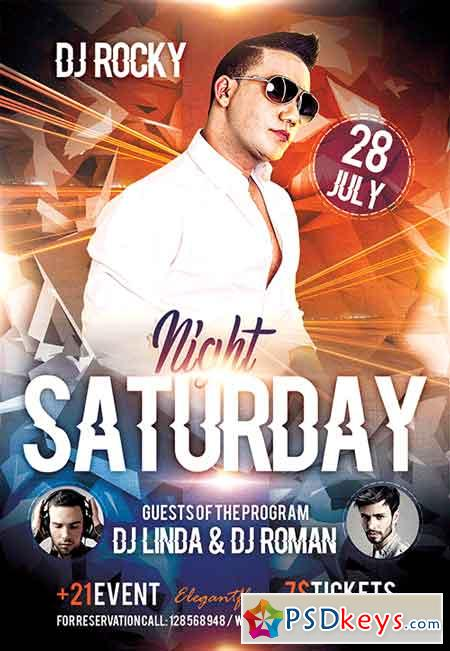 Saturday Night Flyer PSD Template + Facebook Cover