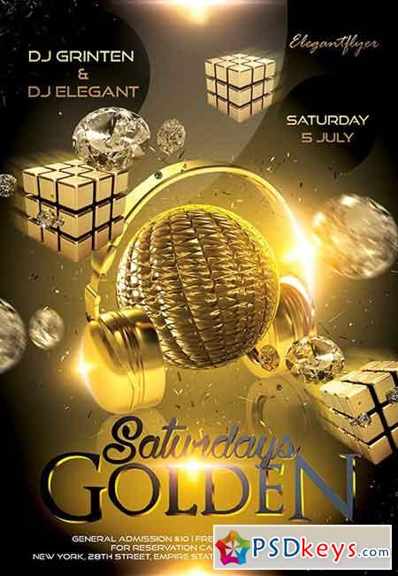 Golden Saturdays Flyer PSD Template + Facebook Cover