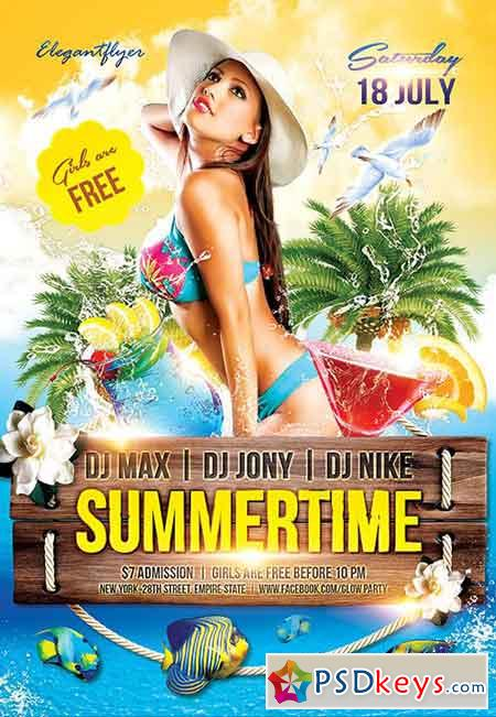 Summertime Flyer PSD Template + Facebook Cover
