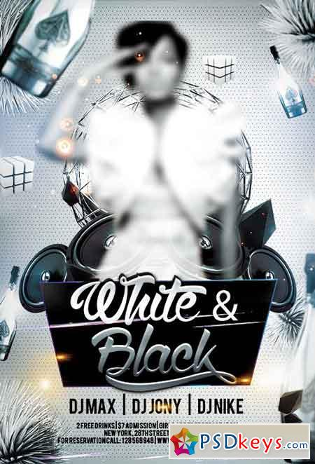 Black White Party Flyer Psd Template Facebook Cover Free